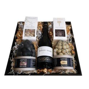 Gavekurv - Elegant gave med fransk rødvin og påskelækkerier