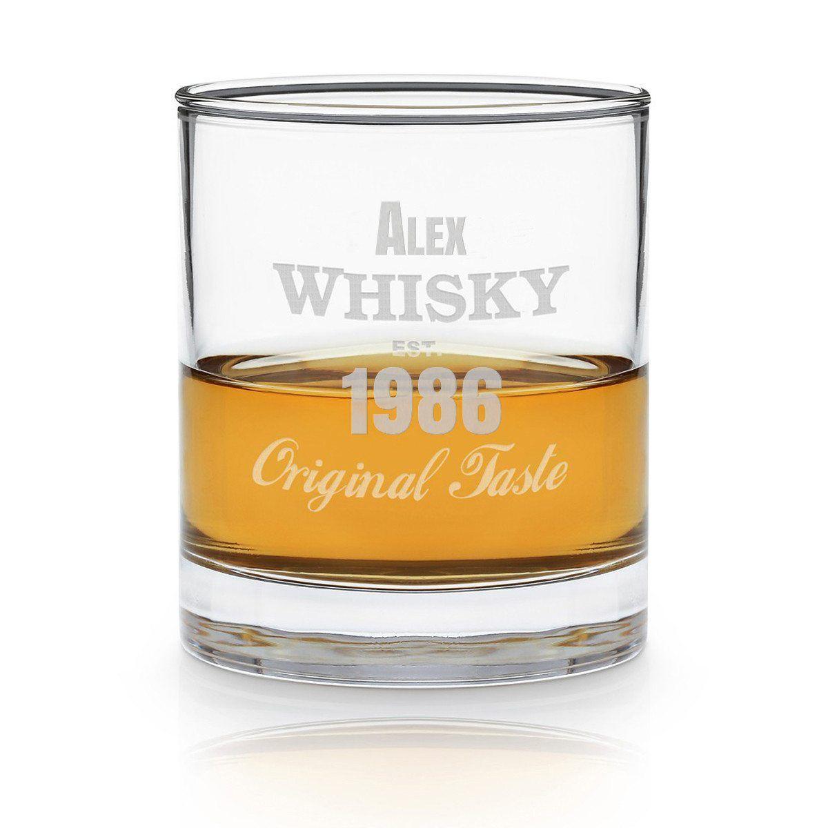 whiskeyglas med indgravering som gave til en svend